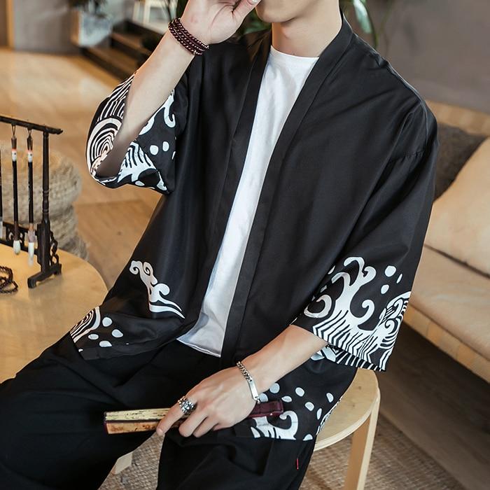 2019 Men's Chinese Style Cotton Linen Coat Loose Kimono Cardigan Men Solid Linen Outerwear Coats