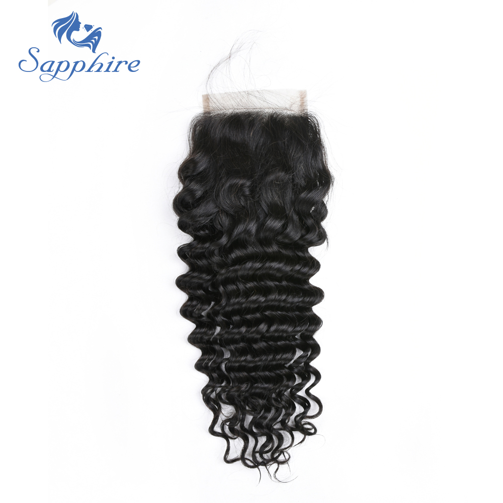 Sapphire Deep Wave Brazilian Remy Lace Closure With Baby Hair Natural Color For Hair Salon High Ratio Longest Free Part Closure ...