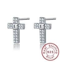 Original 925 Sterling Silver Christian Cross Shape Stud Earrings For Women Men Clear AAA Zircon Stone