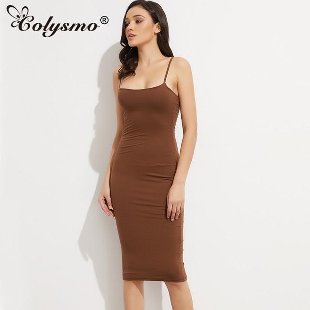 Colysmo Double Layer Women Under Dress Basic Cotton Midi Dress Sexy Winter Dress  Bodycon Square Neck Club Party Dresses Vestidos 5062d3a0bee7