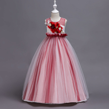 New pattern  girl dress sleeveless long Wedding presiding Flower princess girls dresses for