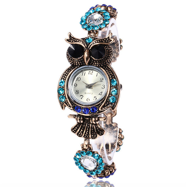 2018 Vintage Quartz Watches Luxury Brand Owl Fashion Women Bracelet Watch Design