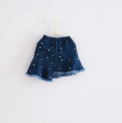 2017 Baby Girls New Irregular Denim Ruffles Skirt With Beading Fashion Kids Tassles Skirt
