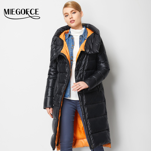 MIEGOFCE 2019 Fashionable Coat Jacket Women's Hooded Warm Parkas Bio Fluff Parka Coat Hight Quality Female New Winter Collection 1