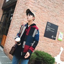 2018 Autumn Winter Men's Lattice Splicing Pattern Woolen Blends Stand Collar Fashion Red/Army Green Color Jackets Coats M-5XL