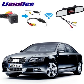 Liandlee 3in1 Wireless Receiver Mirror Monitor Special Rear View Camera Backup Parking System For Audi A6 C6 S6 RS6 4F 2004~2011 фото