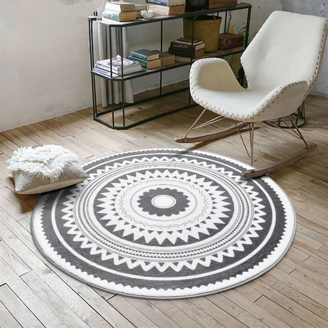 Nordic Gray Series Round Carpets For Living Room Computer Chair Area Rug Children Play Tent Floor