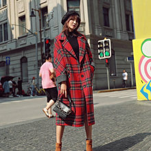 New Arrival Women Red Plaid Blend Wool Coat Casual Single Button Thick Warm With Pocket Elegant Long Fashion Feminine Outwear
