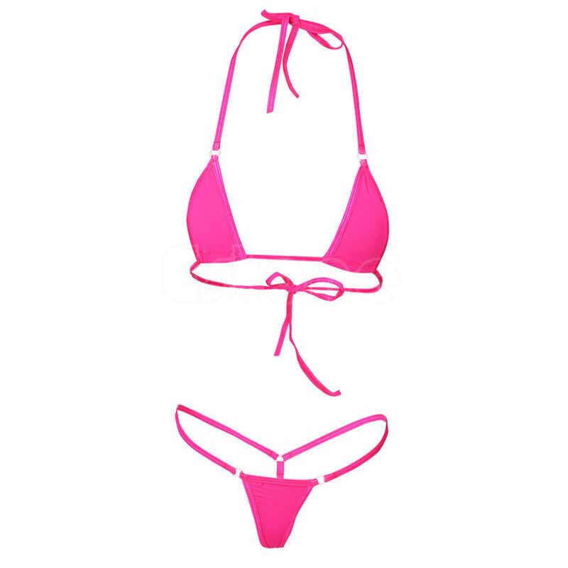 2019 Baru Wanita Micro Thong Celana Dalam G-string Bra Mini Brasil Bikini Set Swimwear Baju Tidur