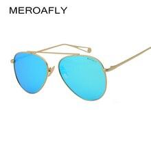 MEROAFLY Clásico gafas de Sol de Moda Para Las Mujeres Flat Top Lente de Espejo Marco de Metal Gafas de Sol Mujeres/Hombres gafas de Sol gafas de UV400 gafas de Sol