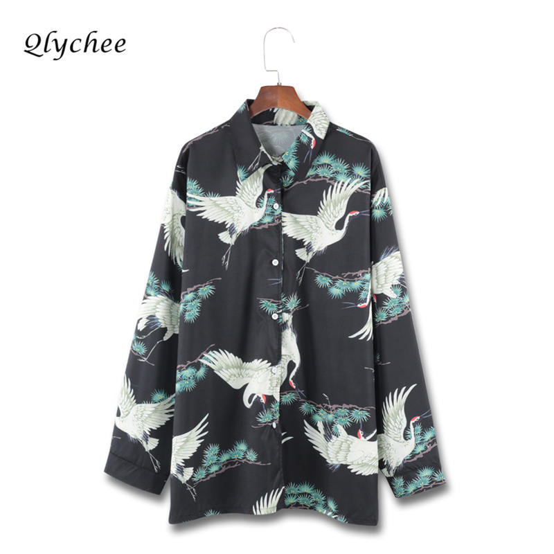 Qlychee Vintage Crane Print Shirt Wome Clothing Long Sleeve Turn-down Collar Loose Long Blusas Female Chemise Blouse Top