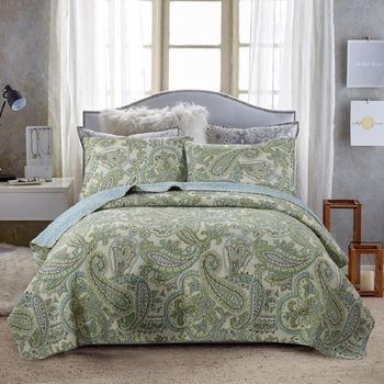Quality Washed Cotton Quilt Set 3PCS Bedding Vintage Printed Quilts Bed Covers Bedspread Pillowcase 230*250cm King Size Coverlet