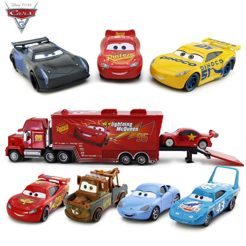 1:55 Disney Pixar Cars 3 Metal Diecasts Toy Vehicles Black Storm Jackson Lightning McQueen Car Model Toys Kids Christmas Gift