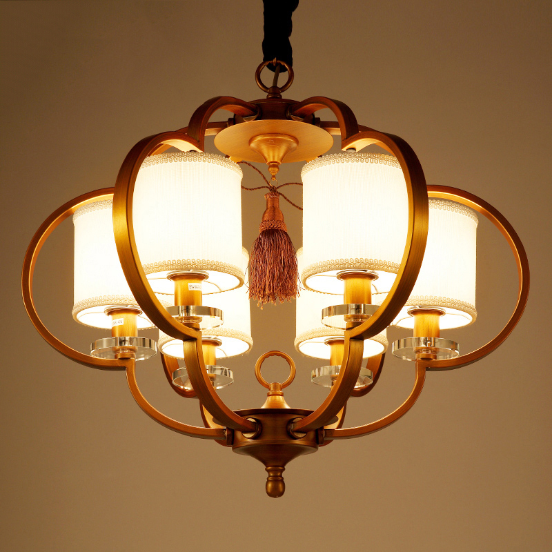 Modern New Chinese Pendant Light Retro Bronze Wrought Iron Living Room Lamps Hotels Restaurants Villas Ya72810