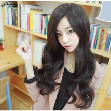Sexy Lady Black Long Wavy Curly Wig Brown Hairstyle Wig Cental Parting Natural Wig for White Women Heat Resistant Synthetic Wig
