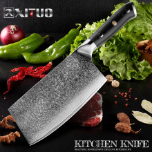 XITUO Damascus Knife 7 inch Professional Chef Butcher 67 Layers Steel Kitchen G10 Handle Cleaver Santoku US