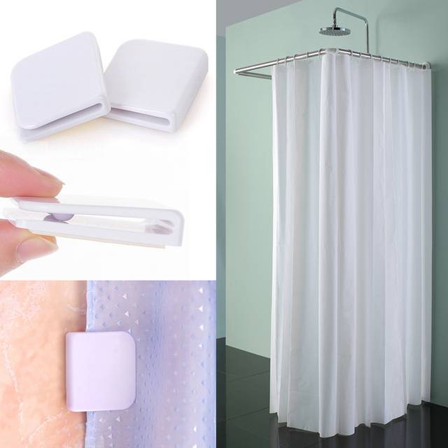 Self Adhesive Water Leaking Shower Curtain Clip Windproof Mini Pegs Clips Stop Toilet