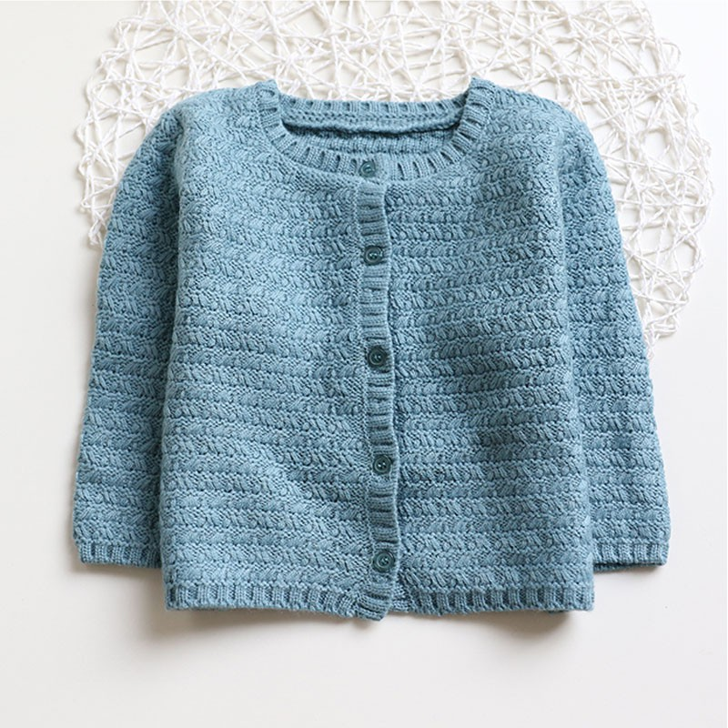 Autumn New Children's Clothing Boys Girls In The Children's Shuttle Pattern Knitted Cardigan Baby Casual Round Neck
