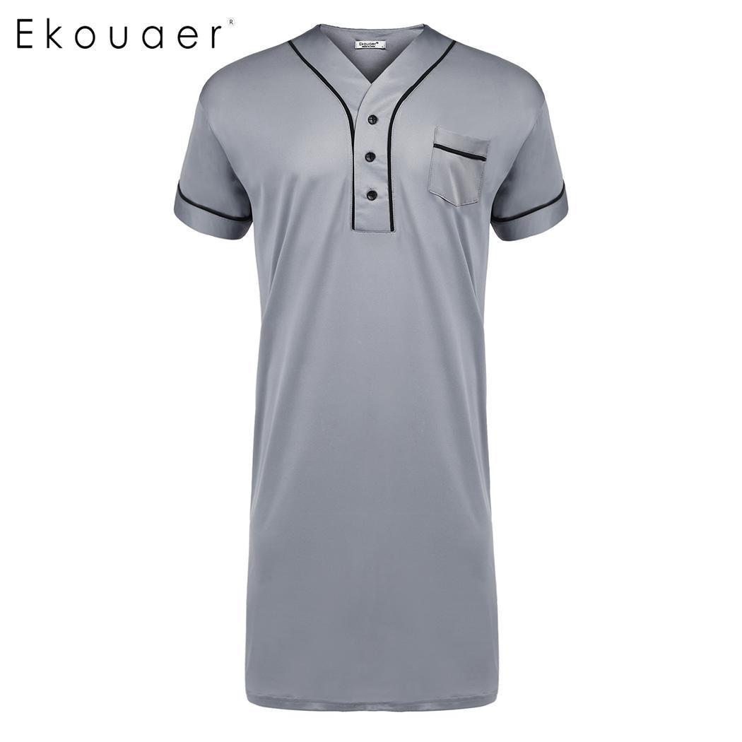 Ekouaer Men Nightshirt Sleepwear Casual V-Neck Short Sleeve Pocket Comfort Loose Night Shirt Men Home Clothing Plus Size