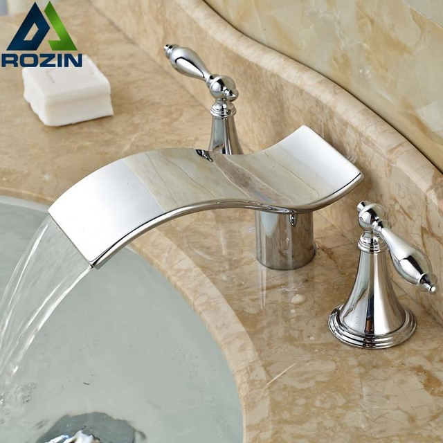 Promote Sale Bright Chrome Basin Wash Tap Bathroom Water Faucet Cold U0026 Hot  Pipe Mixer Deck