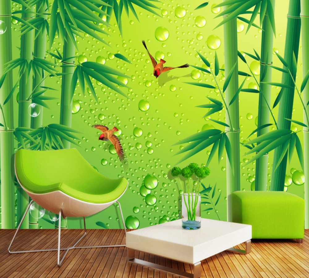 Free Shipping High Definition Fresh Bamboo Forest Birds Tv Background Mural Custom 3d Green Spring Living Room Wallpaper Wallpapers Aliexpress