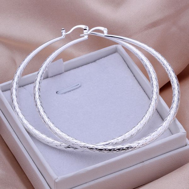 2016 New Top Quality Silver Plated & Stamped 925 fish line big round circle Hoop fine earring for women wholesale