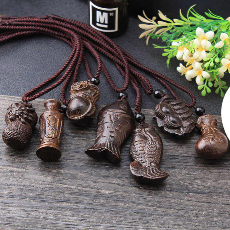 Vintage Necklace Big Pendant Ethnic Necklace Wooden Fish Animal Long Necklace Ethnic Jewelry Maxi Necklace For Women Wholesale