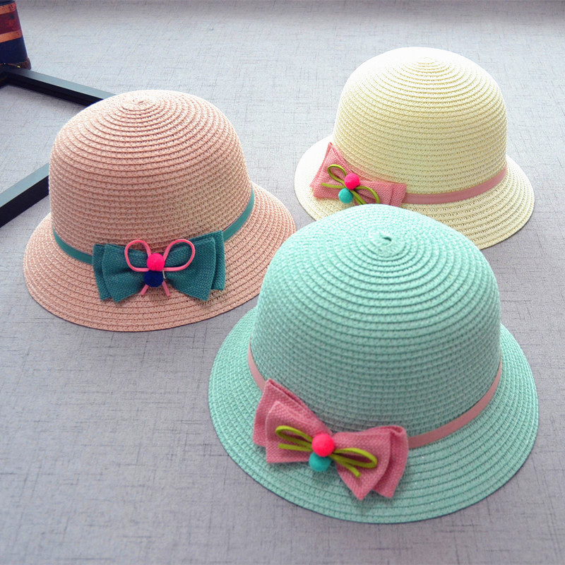 cc5a9f7d964 Baby Girls Straw Bowknot Sun Hat Kids Spring Beach Cap Summer Hat Bow  Children s Sunshade Hat Folding Vacation Fisherman Hat-in Hats   Caps from  Mother ...