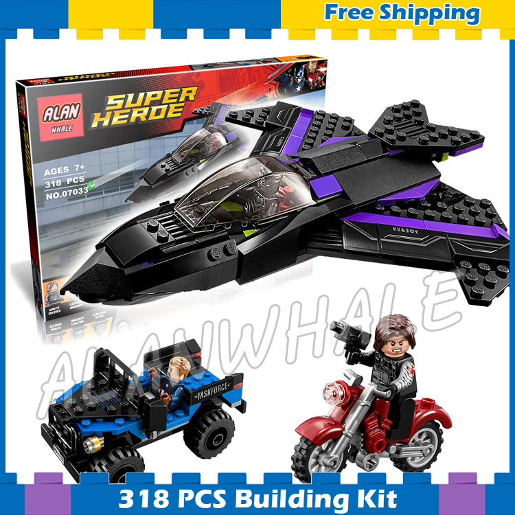 266pcs Super Heroes Black Panther Pursuit Captain America Civil War 07033 Model Building Blocks Gifts Sets Compatible with Lego