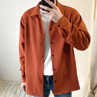 2018 New Men's Korean Fashion Loose Clothes Solid Color Casual Long Sleeves Classic Style Coats Brand Cuff French Shirts M 2XL