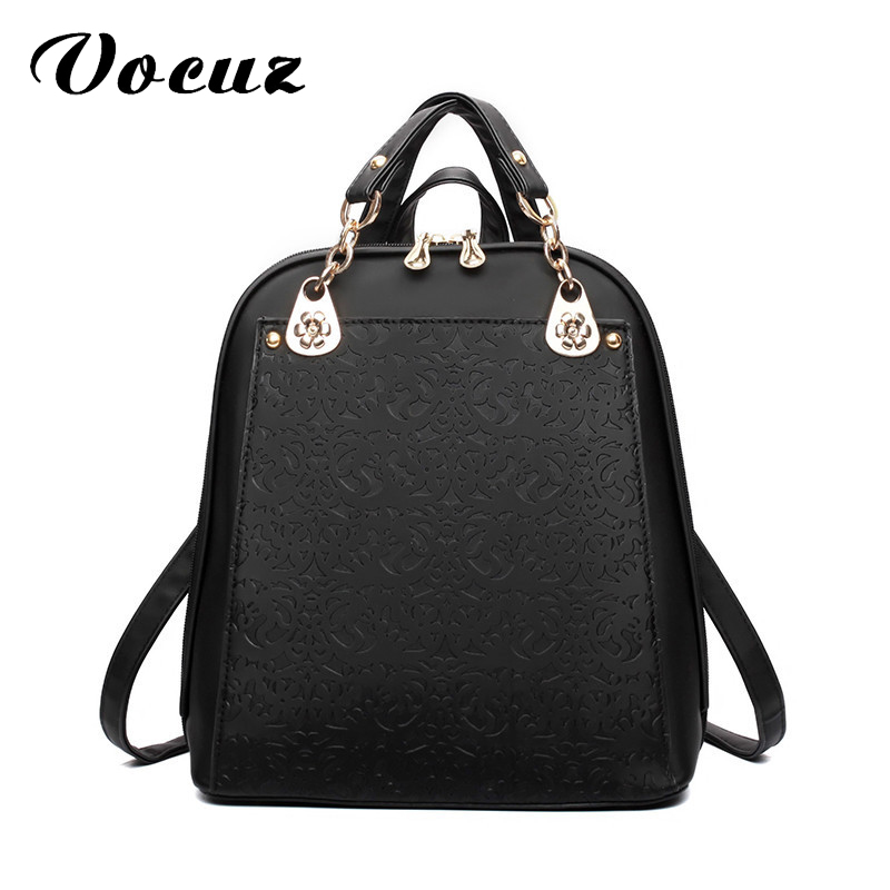 Embossed Elegant Backpacks Women PU Leather School Bag Pack For Teenager Girls Female Shoulder Designer Bookbag Mochila Escolar new brand designer women fashion backpacks simple koran style school for teenager girls ladies shoulder bags black