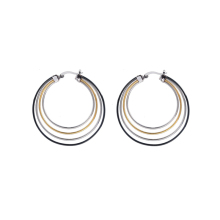 Stainless Steel Rounded Hoop Earrings Set Big for Women Black Silver Gold Large Loop Jewelry Ladies