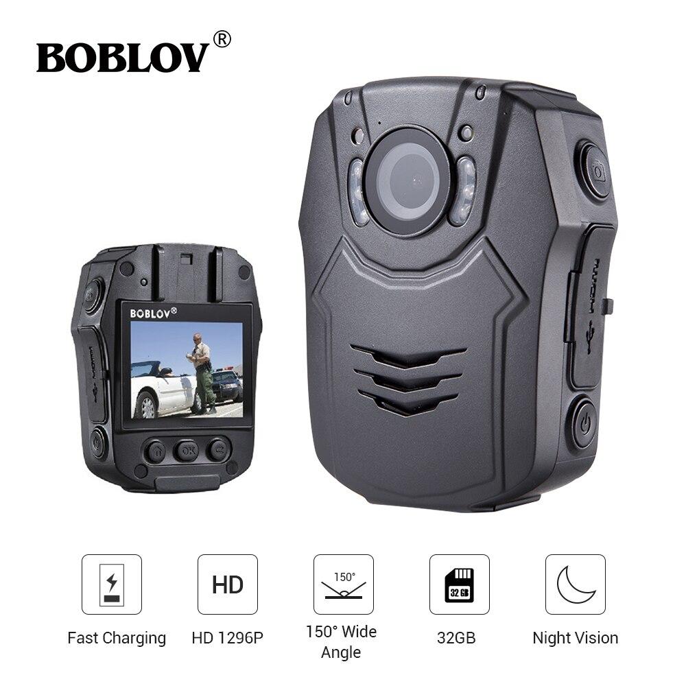 Nouveau BOBLOV 32 gb/64 gb HD 1296 p Corps Porté Caméra Novatek 96658 Police Sécurité IR Vision Nocturne 32MP Vidéo charge Rapide Kamera