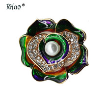 RHao Multi-color Enamel Flower brooches Corsage for Suit coat dress scarf clips Crystal Flower Brooch pins Collar pins broach crystal sunflower brooches lapel pins for women corsage scarf dress decoration