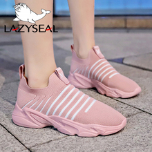 LazySeal New Air Mesh Ankle Boots Shoes Woman Slip-on