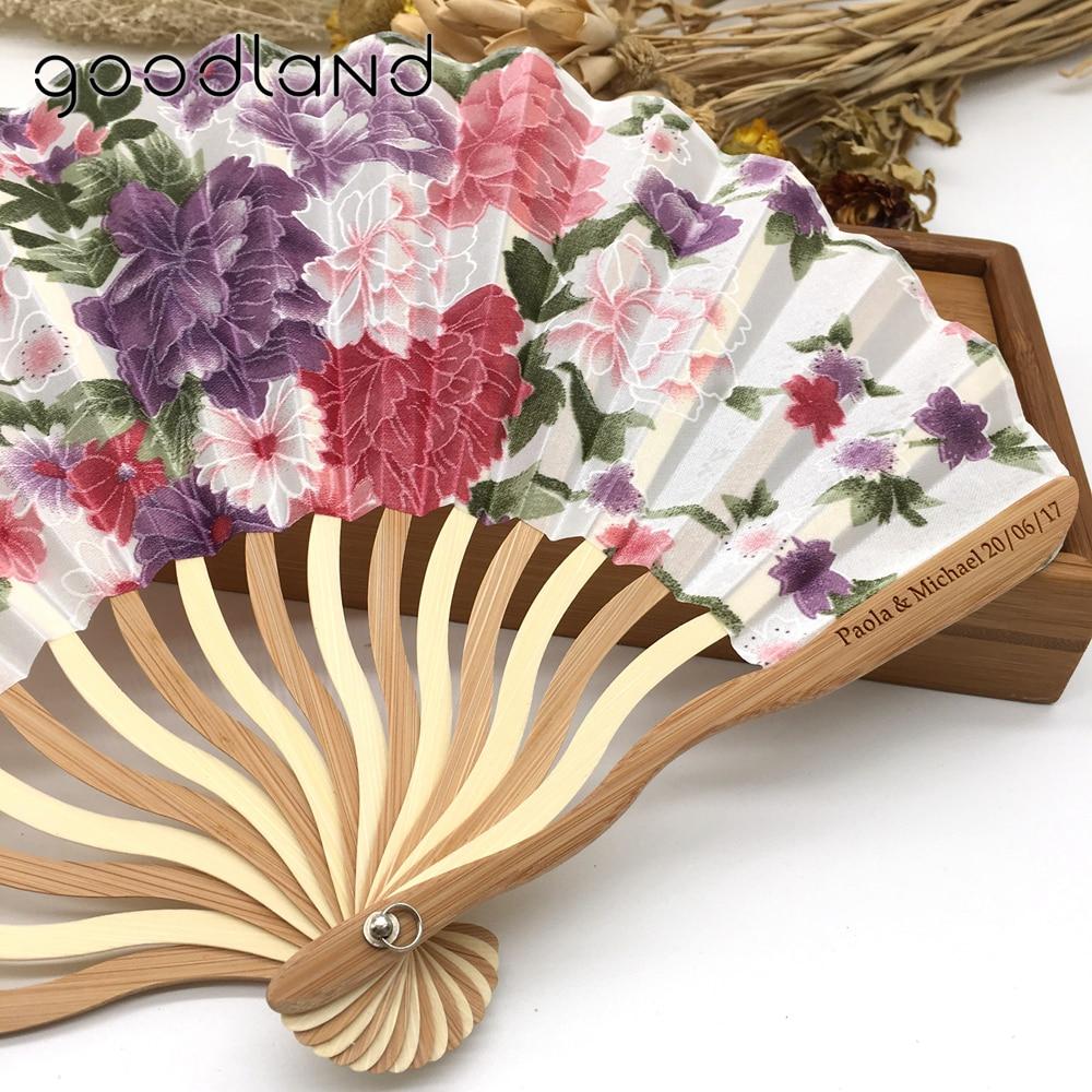 Gratis Verzending 100 stks Gepersonaliseerde/Aangepaste Bamboe 100% Polyester Bloesems Bruiloft Chinese Japanse Vouwen Ventilator-in Decoratieve Ventilatoren van Huis & Tuin op  Groep 1