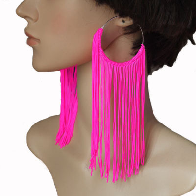 New Fashion Jewelry Women's Earring Tassel Neon Drop Earrings 5 Colors Hot Pink/Yellow/Green/Pink/Red