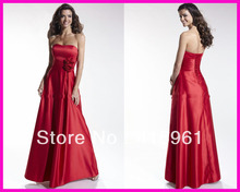 Strapless Red Floor Length Flowers Long Bridesmaid Dresses Corset Back Free Shipping B721