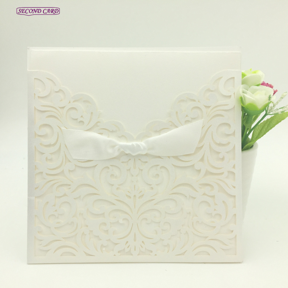 5pcs Set Laser Cut Invitation Card Little Vine Lace Enement Wedding For Guests Party Supplies In Cards Invitations From Home