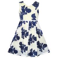 Sunny Fashion Girls Dress Navy Blue Flower Pearl Band Sundress 2016 Summer Princess Wedding Party Dresses