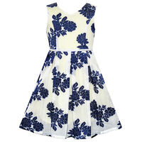 Sunny Fashion Girls Dress Navy Blue Flower Pearl Band Sundress 2016 Summer Princess Wedding Party Dresses