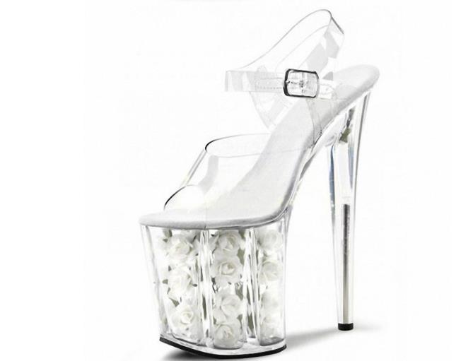 Rouge Sandales Hauts Fleurs blanc Cm Talons Super talons Fins Transparent Cristal 20 Marcher Mariée Femme Étanche Table Mariage Chaussures De Rouge Net 7xBCRwwg