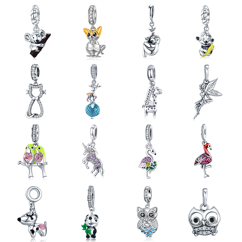 Wostu Naughty Cat S925 Sterling Silver Fit Charm Bead With Enamel Jewellry Gift