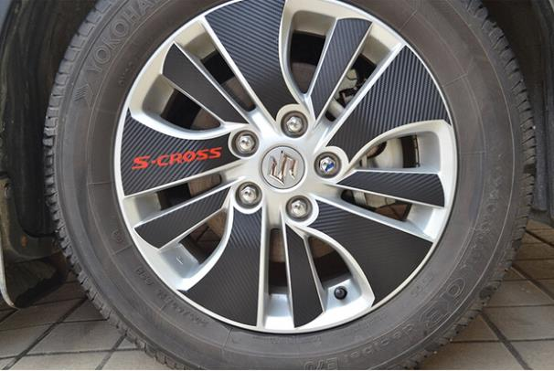 Carbon fiber wheels car stickers affixed wheel hub stickers special modification used for 2014-2016 Suzuki SX4 S.CROSS