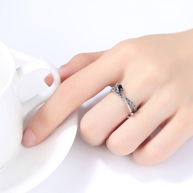 Sterling Silver Cubic Zirconia Adjustable Ring
