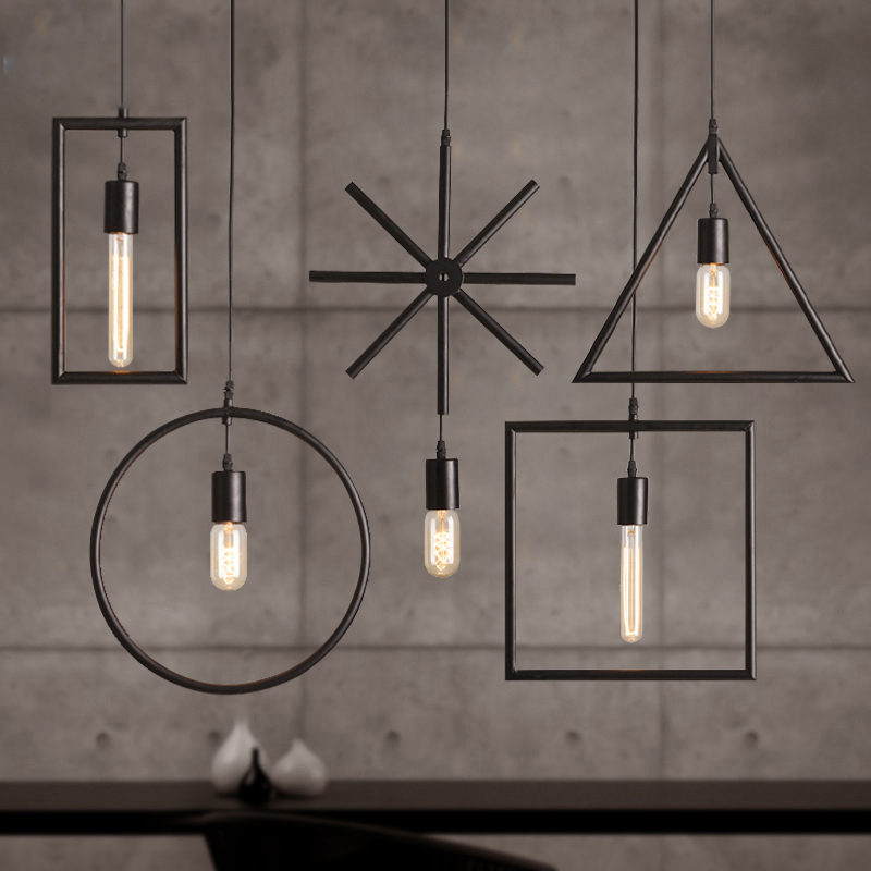 Free Shipping One Sample Order New Style Geometrical Figure Simple Iron Black Finished Pendant Lamps цена