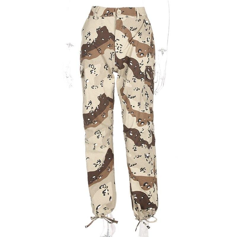 Camuflaje Leopardo De Alta Delgada Nuevos Pantalones Mujeres Las Paño Falsos 2018 Cremalleras Primavera Caliente Caqui Plana Pierna Era Cargo Casual YTwgqP1x4