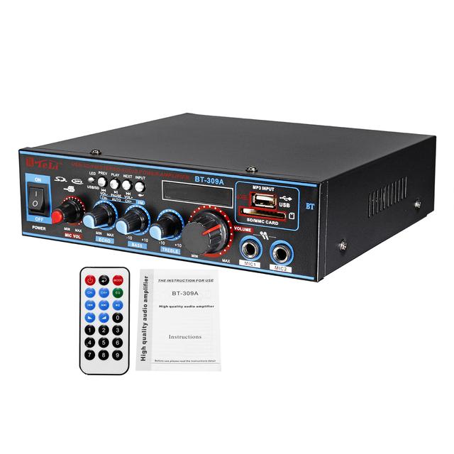 800W HIFI 2CH Audio Power Amplifier 12/220V Home Theater Sound System Audio Mini Amplifier FM USB SD bluetooth W/Remote Control