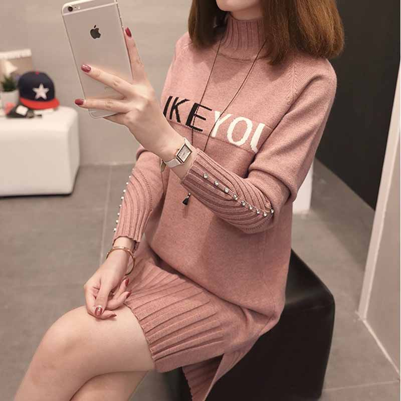Women Knit Sweater Pullover NEW Autumn Winter Clothes Half Turtleneck Long-sleeved Bead Medium Long Jumper Sweater Female Tops