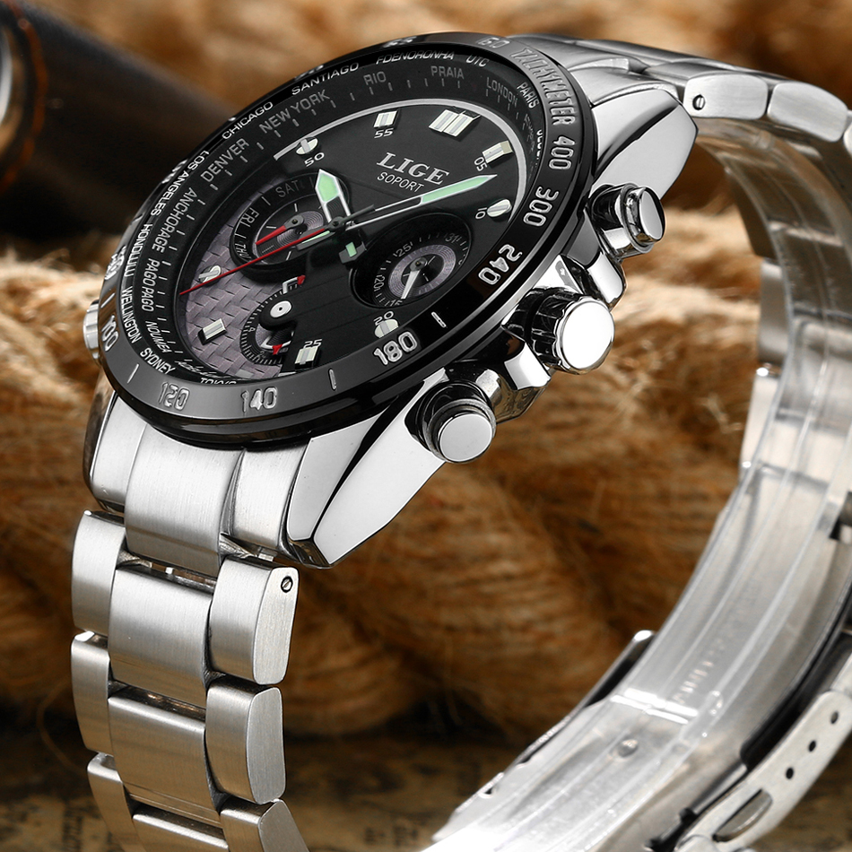 LIGE Reloj Hombre Mens Watches Brand Luxury Men Military Sport Wristwatch Quartz Watch Multi-function Clock relogio masculino